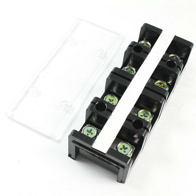600V 60A Dual Rows 4 Positions Covered Screw Terminal Barrier Strip Block