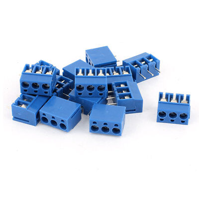 14Pcs  AWG 22-14 AC 300V 10A 3P PCB Mount Screw Terminal Block Blue