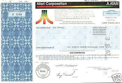 #1 AUTOGRAPHED ATARI RARITY! STOCKS OWNED & SIGNED BY GARRY TRAMIEL from $49.95!