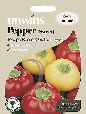 Unwins Pictorial Packet - Pepper (Sweet) Topepo Rosso & Giallo F1 - 10 Seeds