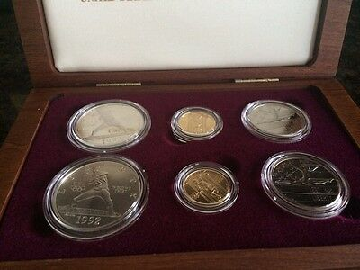 1992 US Olympic 6-Coin Commemorative Set In Original Wooden Box