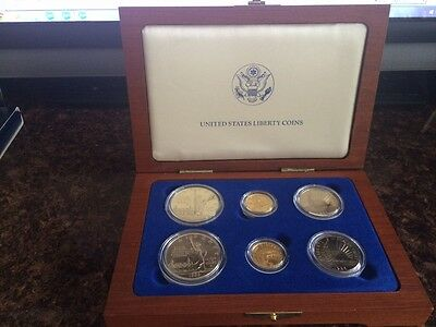 1986 US Liberty Coins- 6 Coin Set In Original Wooden Box