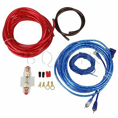 800W Car Audio Subwoofer Amplifier Wiring Kit 8GA Cable Voiture RCA AGU Fuse