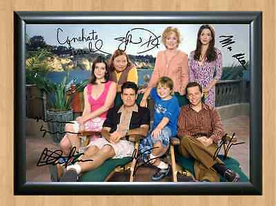 Two And A Half Men Charlie Sheen Harper & Signed Autographed A4 Print Poster TV