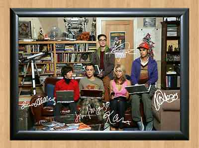 The Big Bang Theory Full Cast Signed Autographed A4 Print Poster TV Show Series