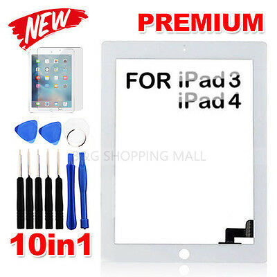 Premium Digitizer Replacement Front Glass Touch Screen Lens for iPad 3 4 White
