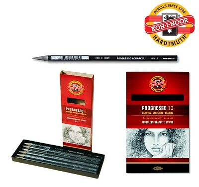 PROGRESSO Woodless GRAPHITE Sticks Set Pencil Aquarell KOH-I-NOOR HB 2B 4B 6B 8B