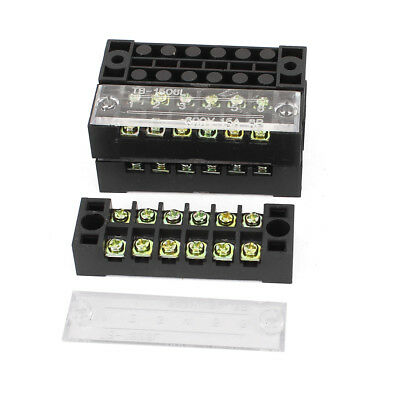 5 Pcs 600V 15A Dual Row 6 Positions Screw Electric Barrier Terminal Strip