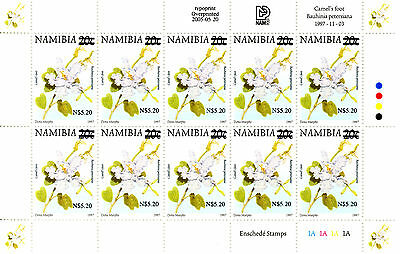 Namibia 1997 Definitives Overprinted 2005 Sg1001 Sheetlet Of 10 Mnh