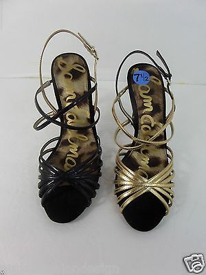 4ee89322d8fc1 Sam Edelman straps women sandal black slim very high heel patent leather SZ  8.5