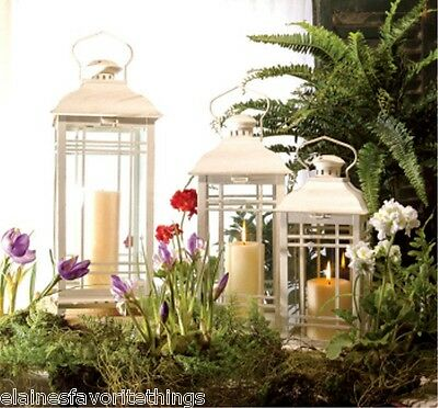 """Set of 3 Shabby Cottage Chic Antique White Candle Lanterns 14"""" to 20"""" High"""