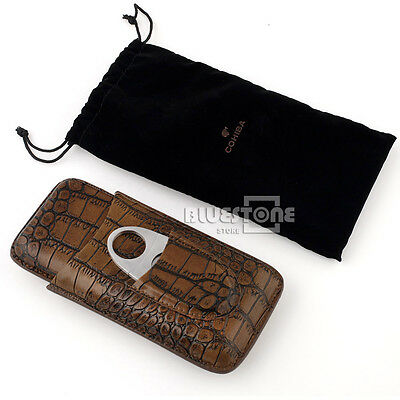 New Brown Leather Croco Embossed Pattern 3 Tube Cigar Holder Case w/ Cutter Set
