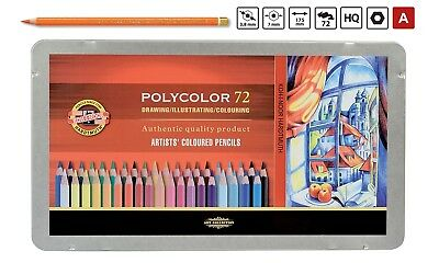 POLYCOLOR Coloured Pencil Set KOH-I-NOOR 3827 Art Drawing Crayon Tin of 12-72