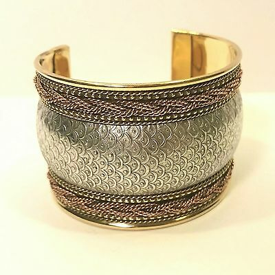 Silver Brass Copper Cuff Bracelet Handmade in India