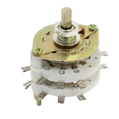 TV Radio Band Channel Rotary Switch Selector 4P3T 4 Pole 3 Position