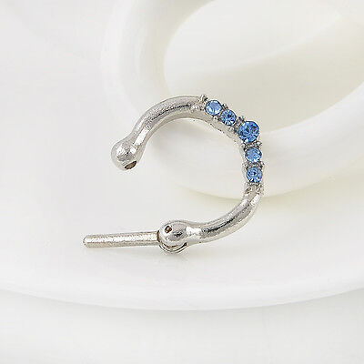 1PC New Surgical Steel Nose CZ Gem Septum Clicker Diath Piercing Ring Hoop Ring
