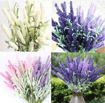 12 Heads Artificial Lavender Flower Leaves Bouquet Home Wedding Decor DIY