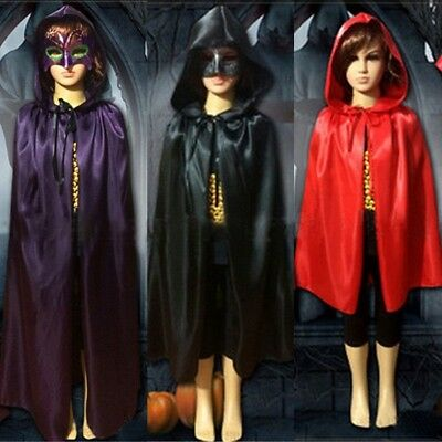 Halloween Kids Hooded Cloak Medieval Wicca Witchcraft Cape Costume Fancy Gothic