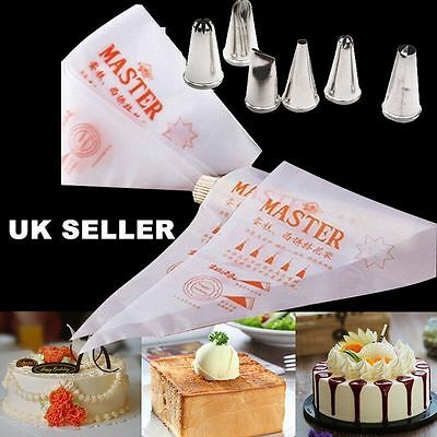 Pastry Piping Icing Bags Disposable Nozzle Set Cupcake Decorating Tool Baking UK