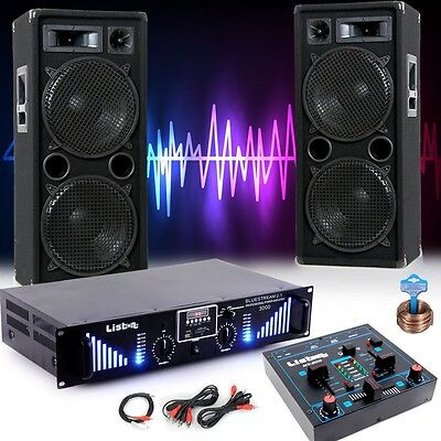 3000 Watt PA Party Musik Anlage Boxen MP3 USB SD Bluetooth Verstärker DJ-Blue 3