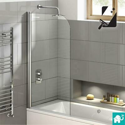Designer Easy Clean Glass 6mm Bath Shower Screen Panel with Towel Rail & Seal