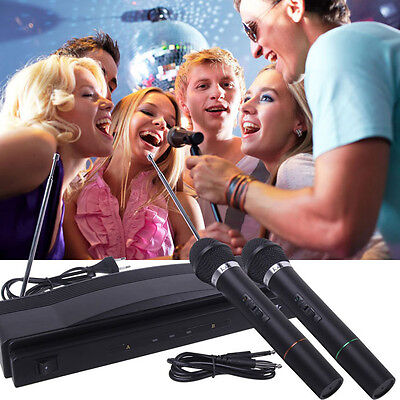 Wireless Microphone System Dual Handheld Mic   2 x Mic Cordless Receiver