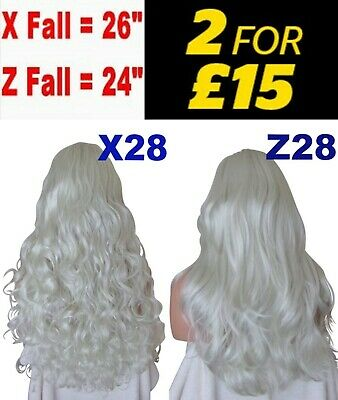"24 OR 26"" Silver White Long Natural Long Curly OR Flick Layered Half Wig"