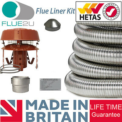 Flue Liner Kit Installation With Anti Down Draft Cowl Chimney Stove 316 grade