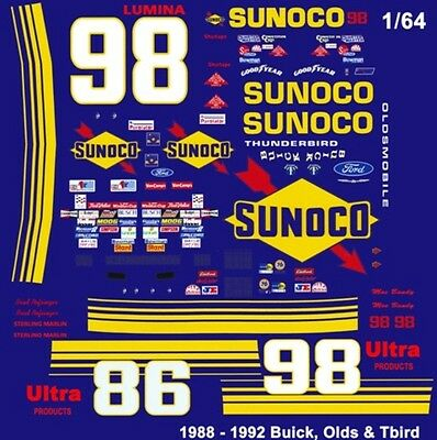 #98 Brad Nofsinger Sunoco 1988-1992 1/64th HO Scale Slot Car Waterslide Decals
