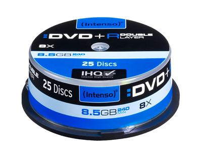 25 INTENSO DVD+R Double Layer 8.5 GB 8x full Speed in Spindel