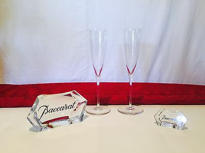 Authentic Stamped Baccarat Crystal Clear Full Lead Champagne Flutes