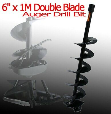 """3/4"""" Fitting 6"""" x 1M Ice Earth Auger Drill Bit w/ Double Sharp Blades"""