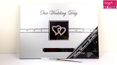 Our Wedding Day & Guest Book Diamante Hearts w/ Stylish Silver Pen GKIMTDW-GS