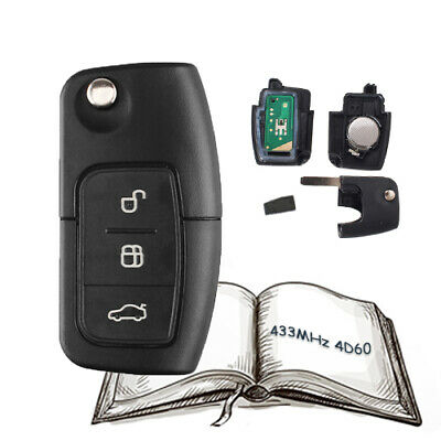 Folding Remote Key Fob 3 Button 433Mhz 4D60 Chip for Ford Focus Fiesta Galaxy