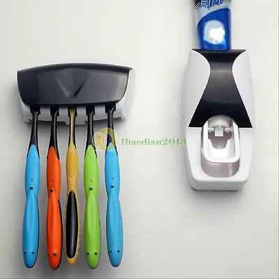 Automatic Lazy Toothpaste Dispenser + 5  Set Toothbrush Holder Wall Mount Stand