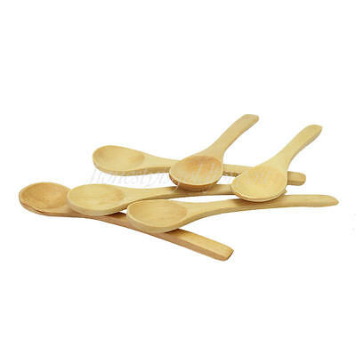 6pcs Wooden Round Soup Spoon Teaspoon Cooking Condiment Utensil Catering