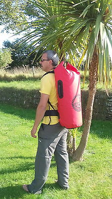 waterproof 50L dry bag carry bag -  Rucksack with padded shoulder straps.
