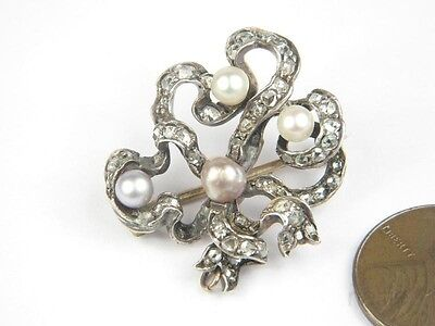 Antique English Late Victorian Gold Silver Rose Cut Diamond & Pearl Bow Brooch