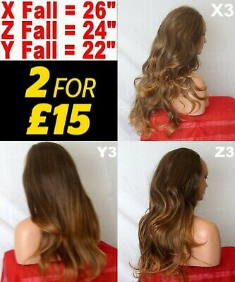 BROWN OMBRE Long Curly Layered Half Wig Hair Piece Ladies 3/4 Wig Fall #2T30