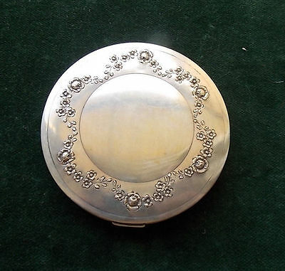 Beautiful Silver powder box with flowers on front   90 gr