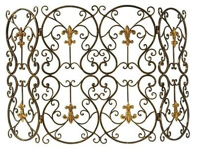 Old World Tuscany French Fleur De Lis Fireplace Screen Brass Medallions Scroll