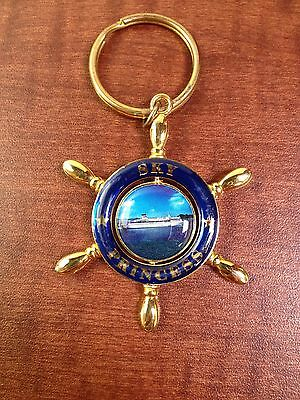 Princess Cruises Keychain Gold Metal Ships Wheel With Spinning Center