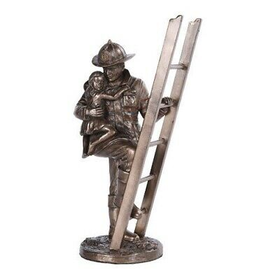 Fireman Saving Girl Statue Figure Home Decoration Patriotic Fire Fighter Ladder