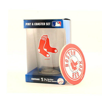Boston Red Sox 16-Ounce Pint Glass & 4 Coasters Gift Set