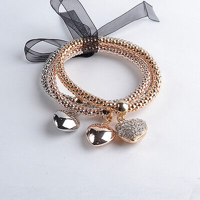 Ladies 3 Piece Gold, Rhodium & Rose Gold Colour Crystal Bracelet Set - Brand New