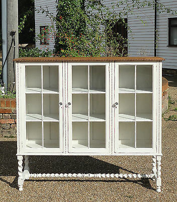 Antique Victorian Oak Painted Shabby Chic Glazed Bookcase Cabinet Book Shelves