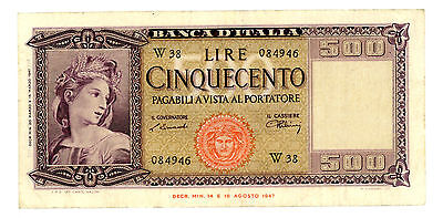 Italy … P-80a(Bi.544sp) … 500 Lire … 20-3-1947 … *F-VF*  Replacement-W.