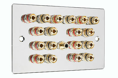 Polished Chrome 9.1 Surround Sound Speaker Wall Face Plate NO SOLDERING REQUIRED