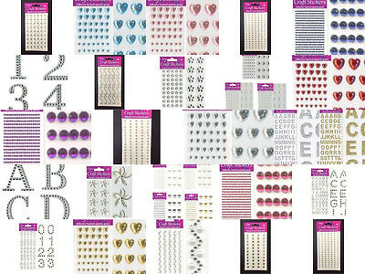 Diamante Rhinestone Gems Craft Stickers Numbers Letters Alphabet Self Adhesive