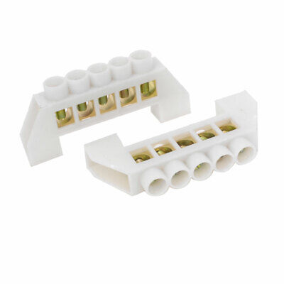 5 Positon Zero Line Row Copper Tone Terminals Block White 2 PCS